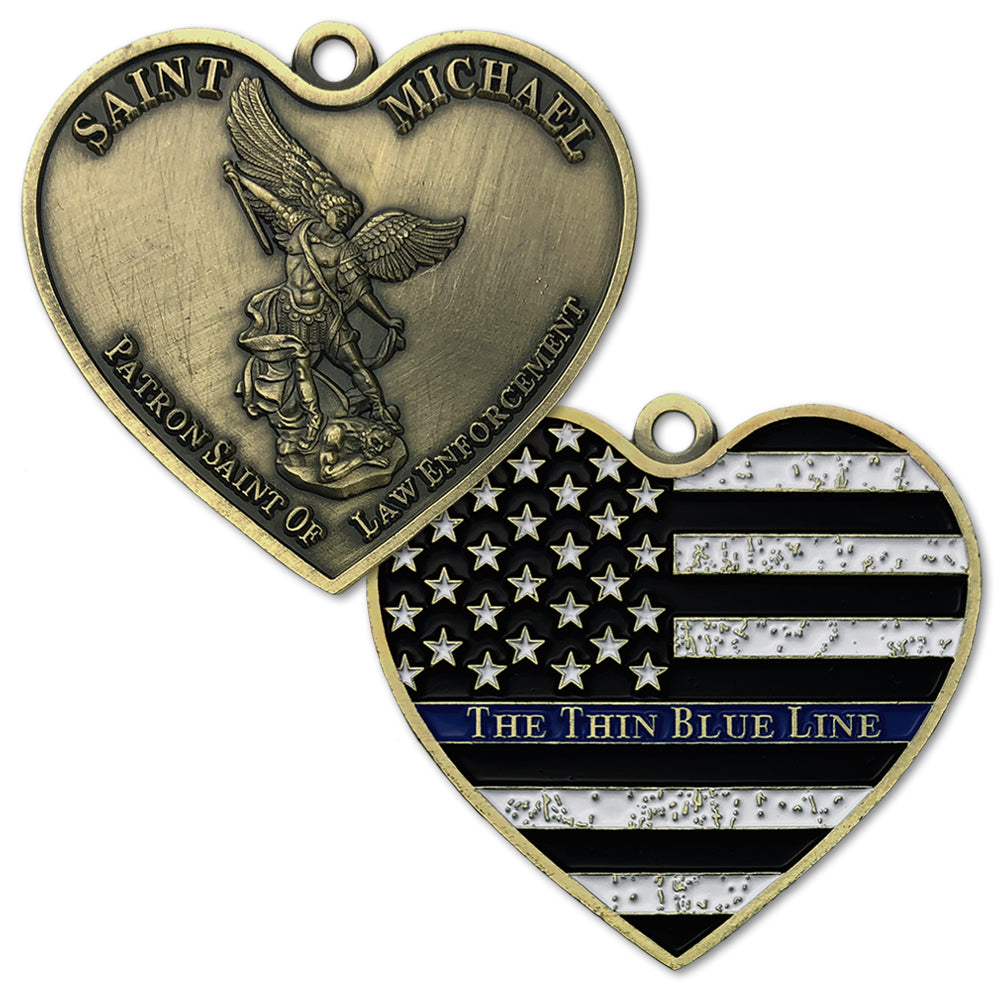 St Mchineal The Blue Line Heart Shape Dog Tag