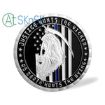 US Police Thin Blue Line Justice Death Challenge Coin