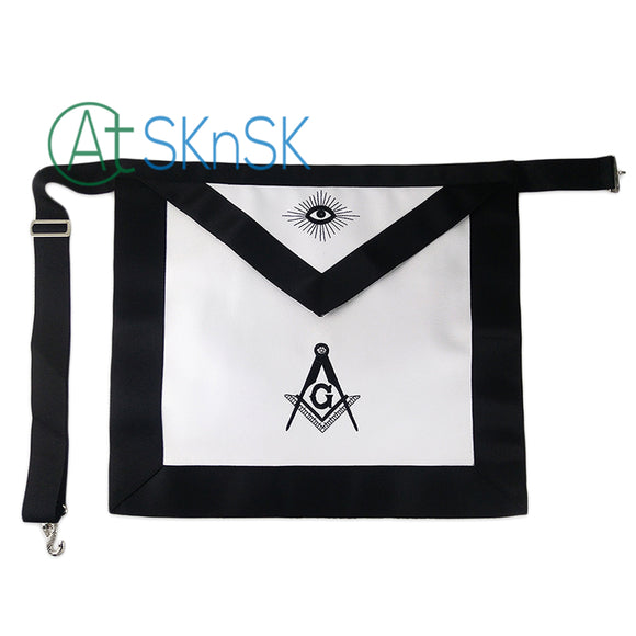 Masonic Blue Lodge LEATHER Cover Apron Black Standard Featured with G Symbol
