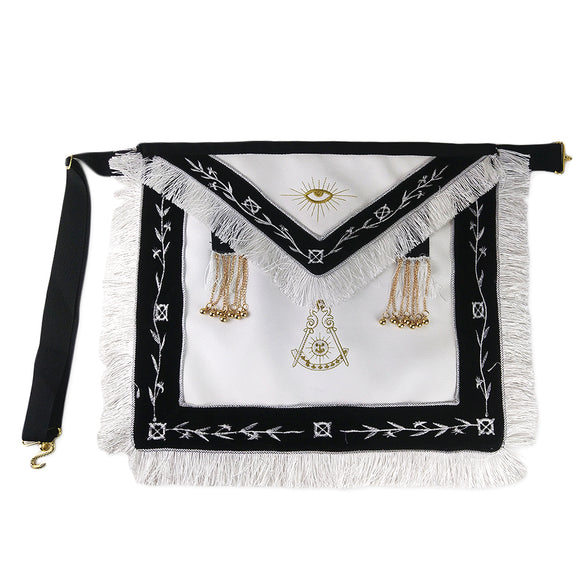 Masonic Blue Lodge LEATHER Cover Apron Olive White Embroidery White Tassels Gold Beads Featured with the Past Master Symbol