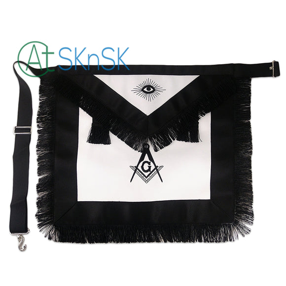 Masonic Master Mason LEATHER Black Tassel Apron Featured with Compass & Square G Symbol