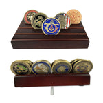 4 Rows Solid Wood Mini Challenge Coin Display