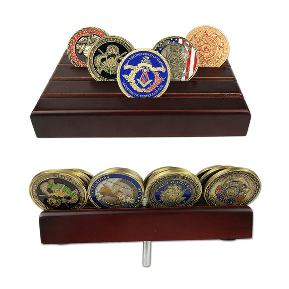 Small 4-Row Solid Wood Challenge Coin Display Stand