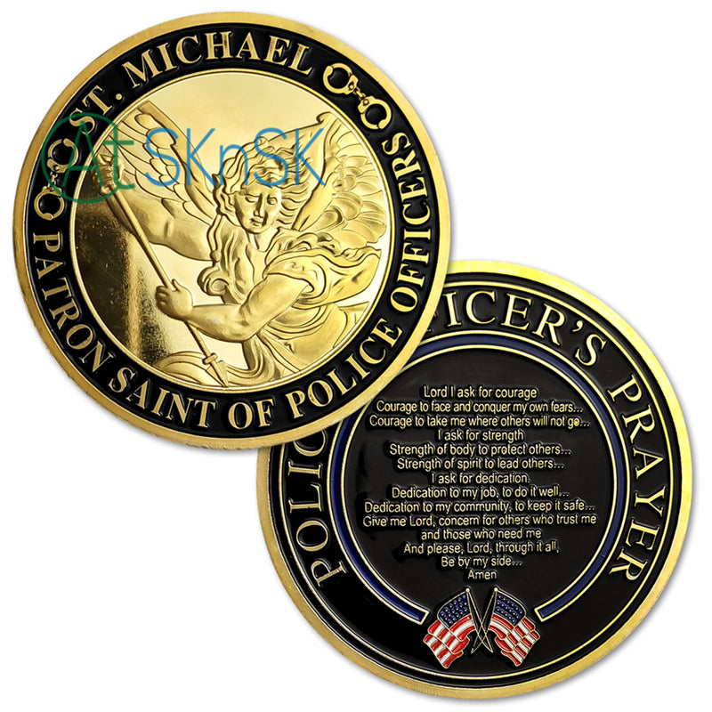 Police St. Michael Prayer Gold Challenge Coin