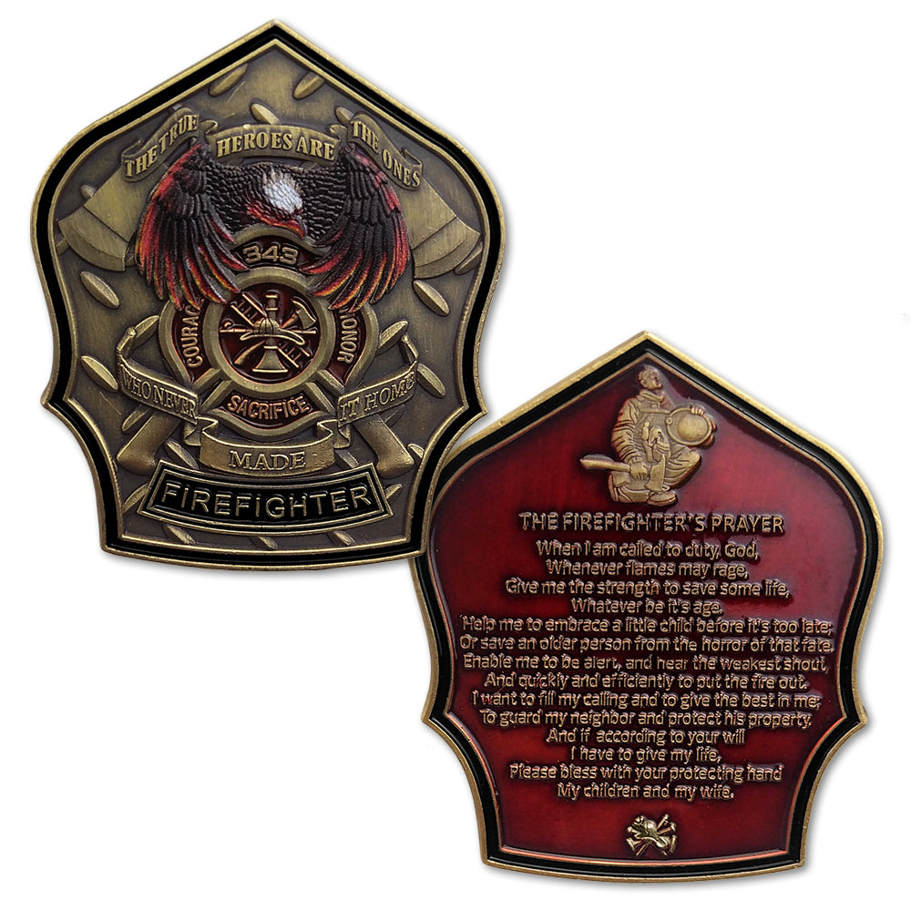 Firefighter Prayer 911 Fallen Hero Challenge Coin