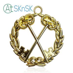 Masonic Treasurer Gold Jewel Pendant the Cross Vault Keys