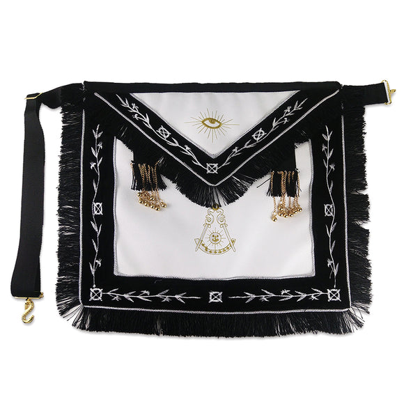 Masonic Blue Lodge LEATHER Cover Apron Olive White Embroidery with Black Tassels and Gold beads Featured with the Past Master