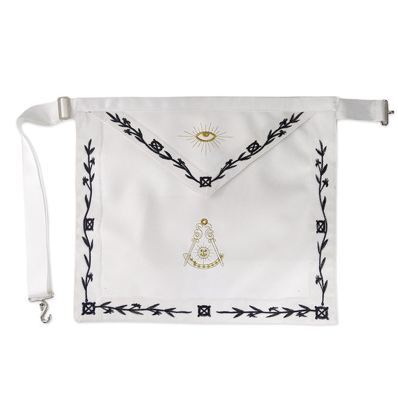 Masonic Blue Lodge LEATHER Cover Olive Black Embroidery  Apron Featured with the Past Master