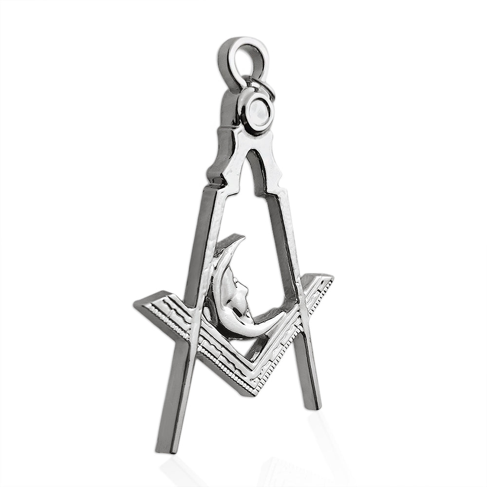 Masonic Moon Silver Jewel Pendant