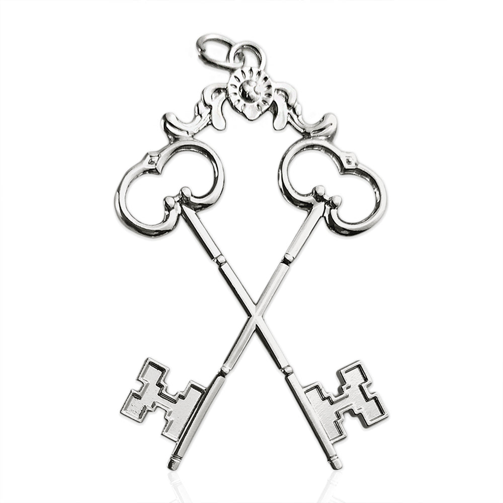 Masonic the Cross Vault Keys Treasurer Sliver Jewel Pendant