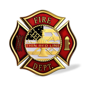 US Fire Department The Thin Red Line Car Emblem