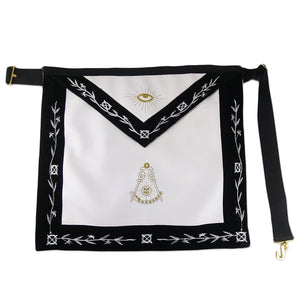 Masonic Master Mason LEATHER Olive White Embroidery Apron Featured with the Past Master Symbol