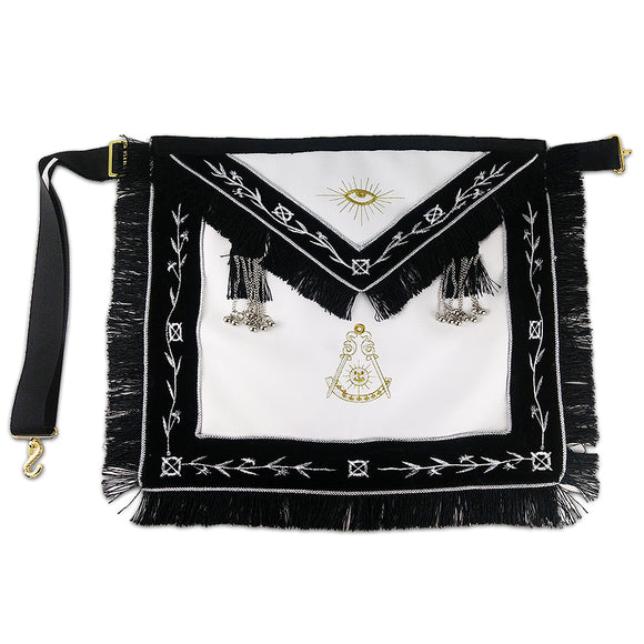 Masonic Blue Lodge LEATHER Cover Apron Olive White Embroidery Black Tassels Silver beads Featured with the Past Master Symbol