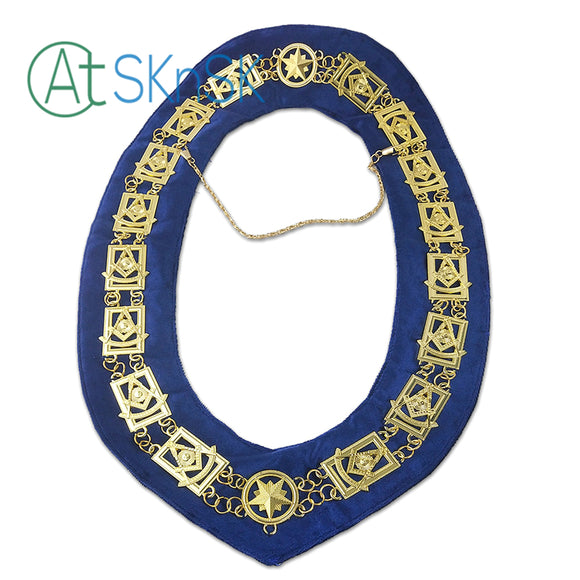 Masonic Past Master Symbol Blue Velvet Backing Gold Chain Collar