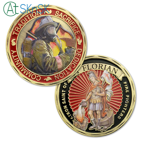Fire Fighter Of United States' Motto With St. Florian Challenge Coin Antique Bronze Edition
