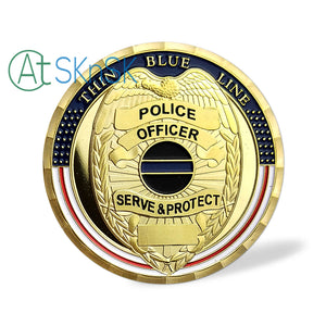 Thin Blue Line Shield Police Officer Challenge Coin