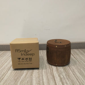 ASmileIndeep Wooden Round Barrel Jewellery Storage Box