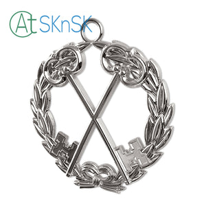 Masonic Treasurer Sliver Jewel Pendant the Cross Vault Keys