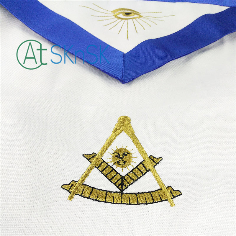 Masonic Blue Lodge  Cotton Fabric Apron Featured with the Past Master Symbol
