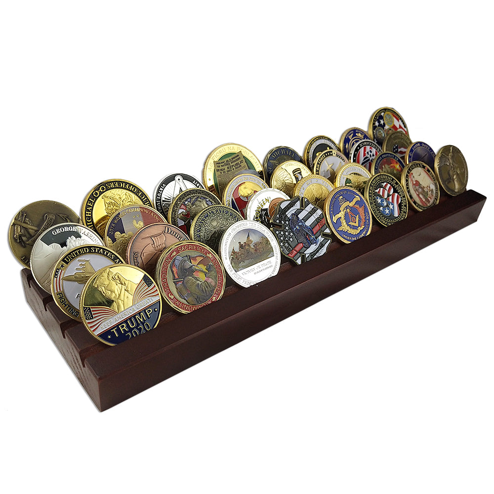 4 Rows Cherry Plank Challenge Coin Display