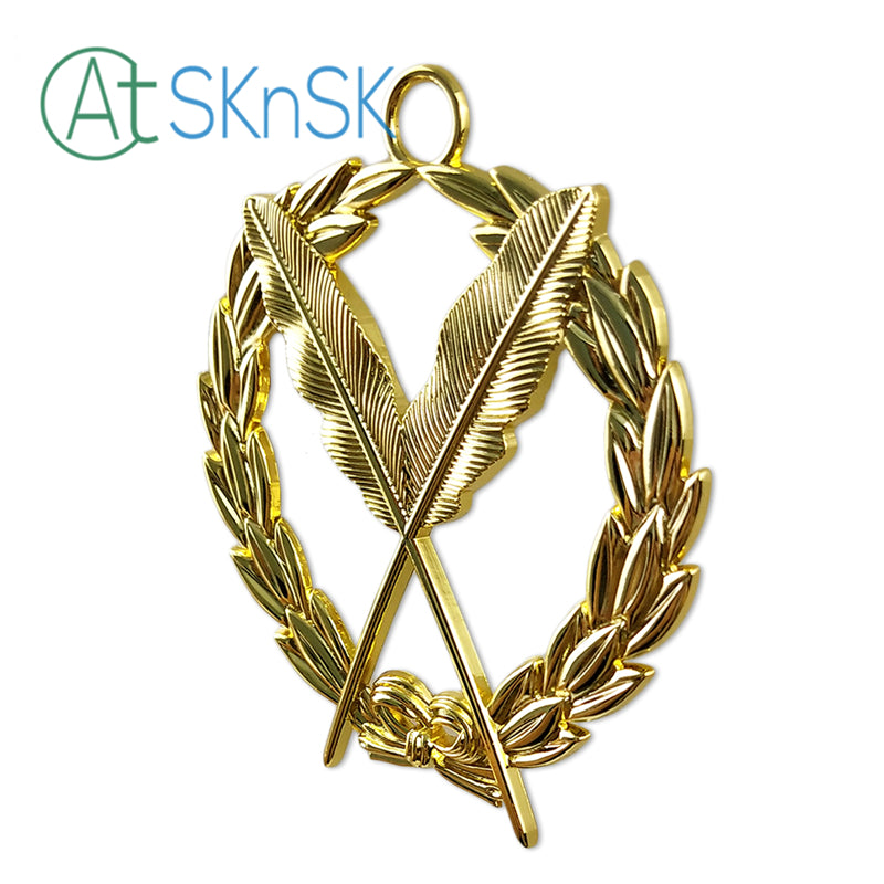 Masonic Secretary Gold Jewel Pendant the Feather Quill