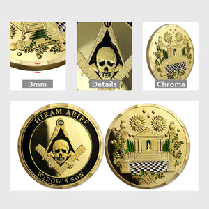 Hiram Abiff Widow's Son Masonic Freemason Challenge Coin
