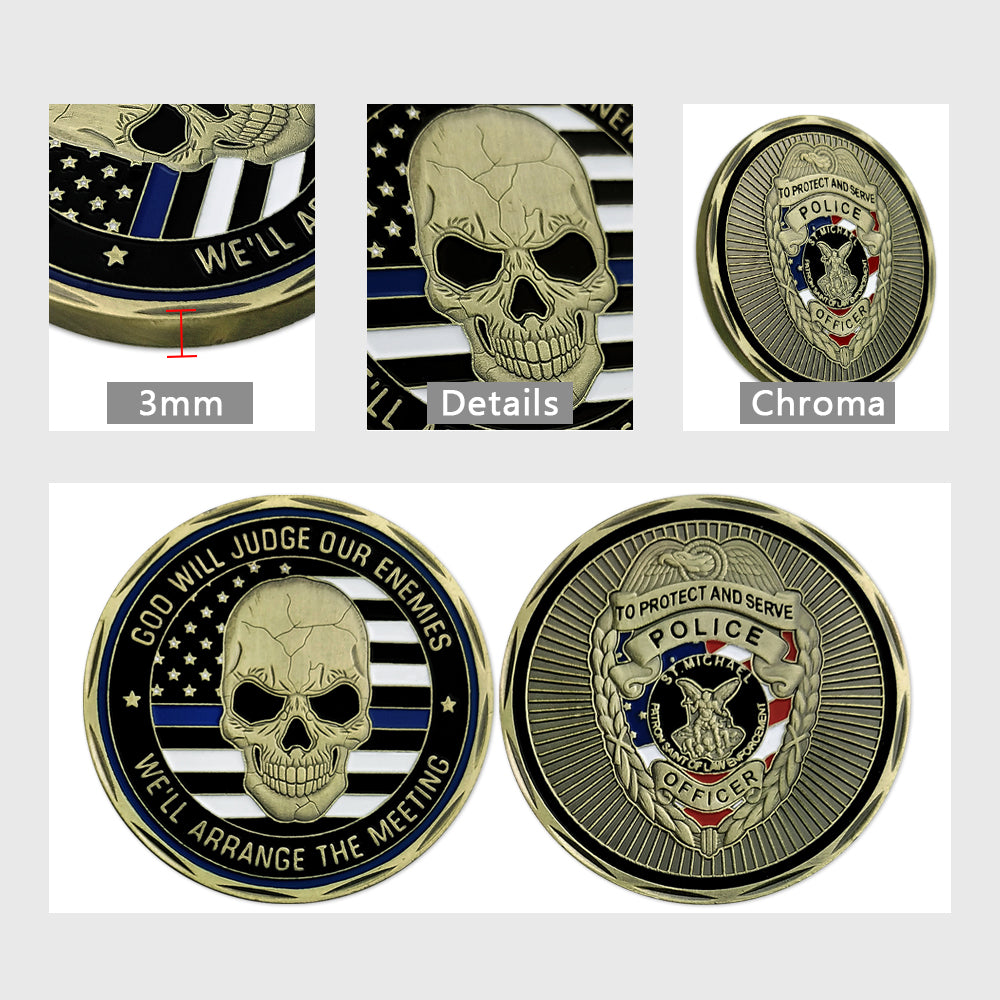 Thin Blue Line Skull St Michael Police Challenge Coin