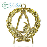Masonic Junior Deacons Gold Jewel Pendant the Compass Moon Symbol