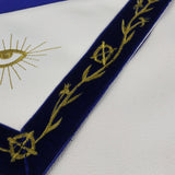 Masonic Blue Lodge LEATHER Cover Apron Gold Embroidery Border Featured with the Past Master