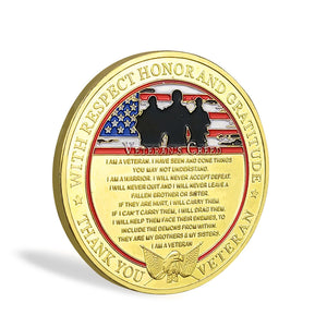 United States Veteran Creed Challenge Coin