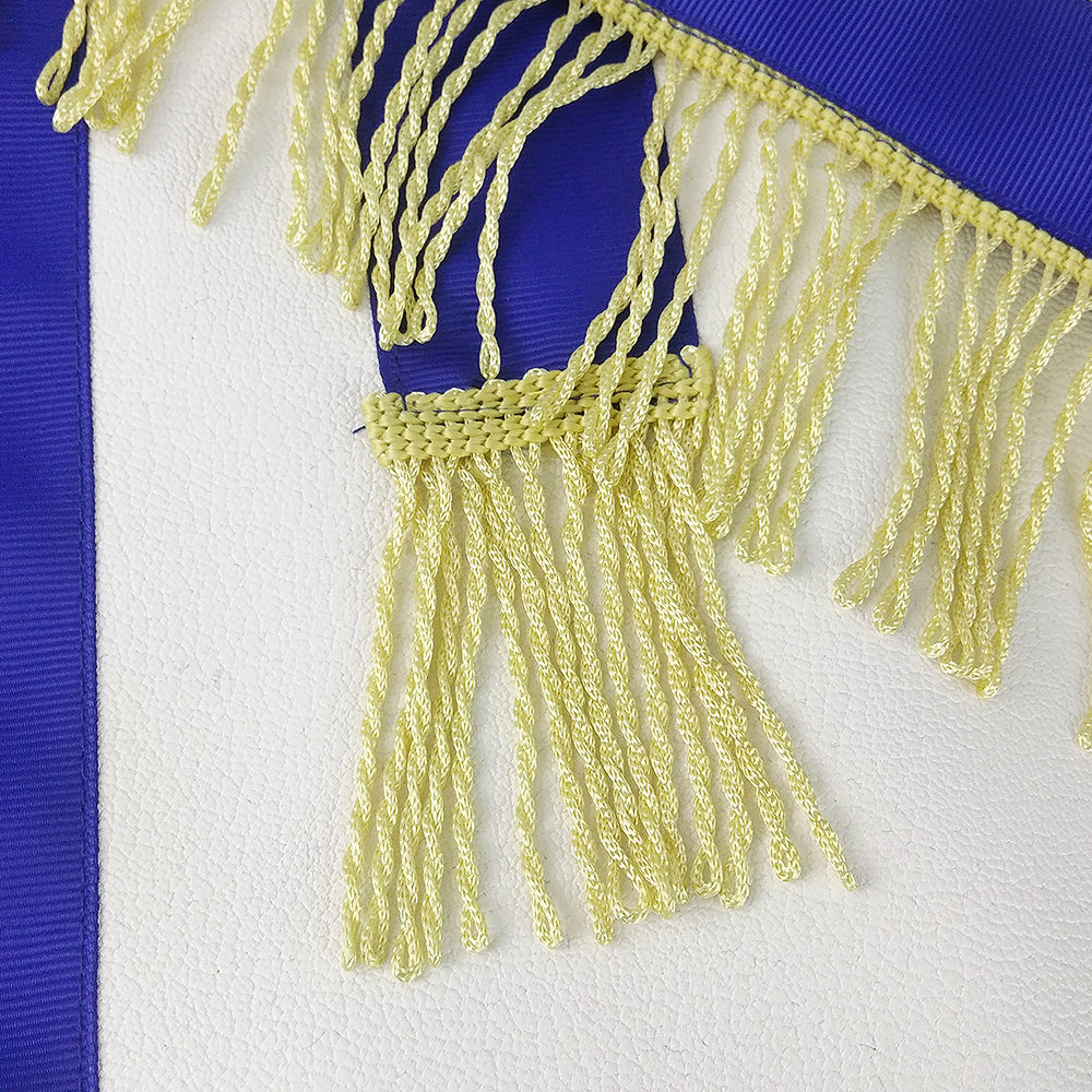 Masonic Blue Lodge LEATHER Cover Apron Gold Tassels Featured with the Past Master Symbol
