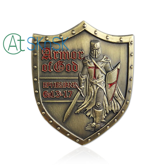 Put on the Full Armor of God Shield Shape Challenge Coin Wall Plaque Ephesians 6:14-17