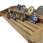 Double Tiers Walnut Challenge Coin Display
