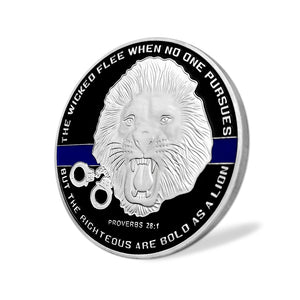 US Police Officer Thin Blue Line Lion Challenge Coin