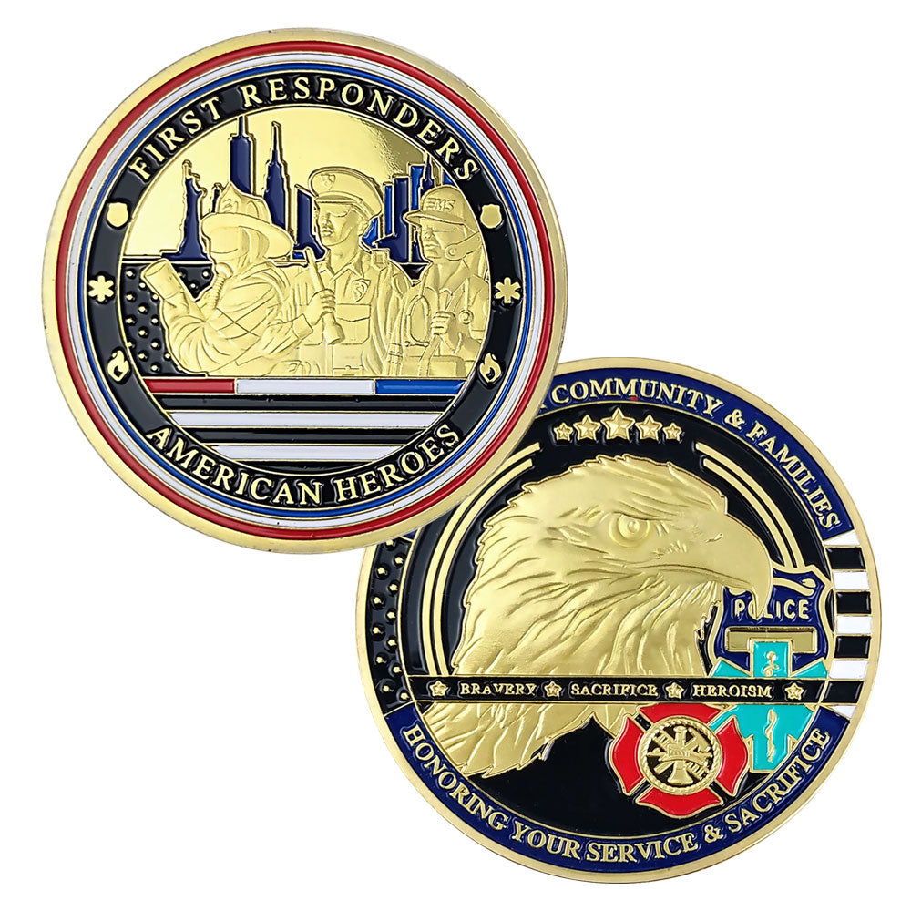 Red White Blue Line Hero Challenge Coin