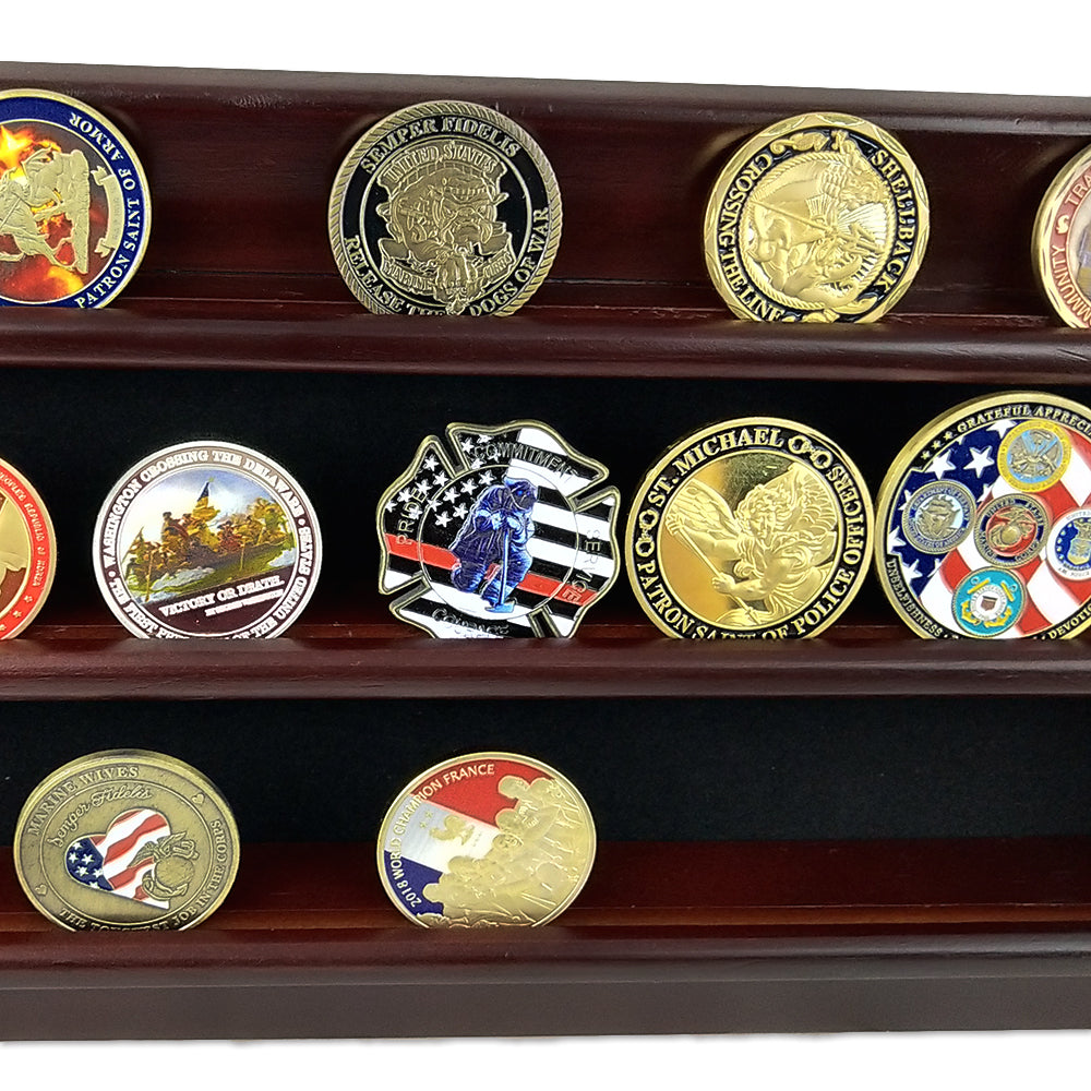 Wooden Challenge Coins Display Rack Deep Cherry Finish