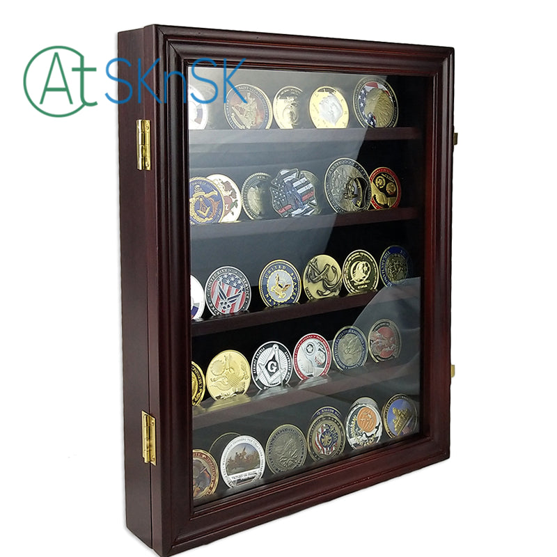 Cherry Challenge Coin Display Case Shadow Box