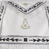 Masonic Blue Lodge LEATHER Cover Apron Black Embroidery and White Tassels  Featured with the Past Master Symbol