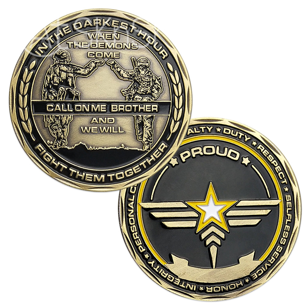 US Army Brofist Challenge Coin Bronze Military Collectible Soldier Fist Bump