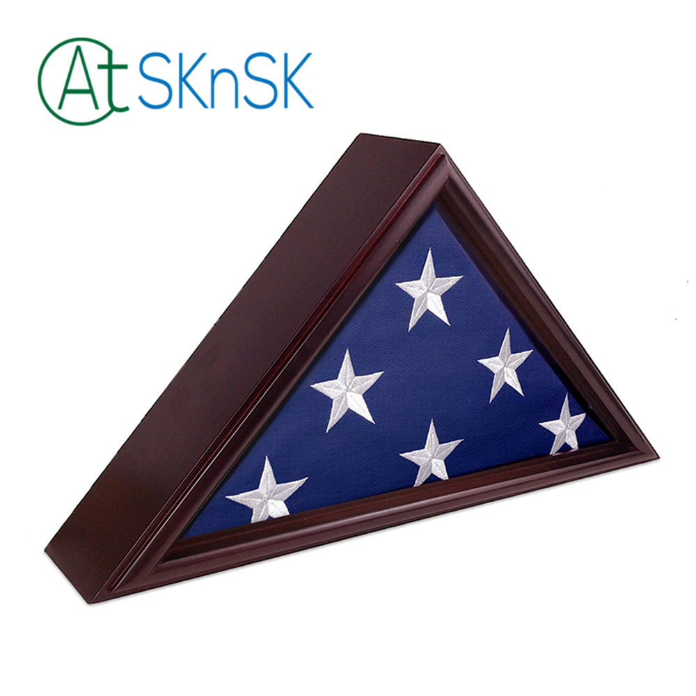 Memorial Flag Display Cherry Shadow Box