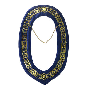 Masonic Compass & Square G Symbol Blue Velvet Backing Gold Chain Collar