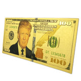Wholesale 100pcs/lot Donald Trump Bill USA Banknote $100 Dollar Banknotes Fake Money Bills Gold Plated Business Gift Collection