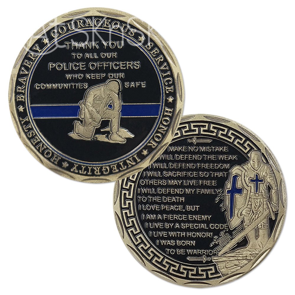 Law Enforcement Prayer Challenge Coin Bronze Crusader Warrior Police Collectible