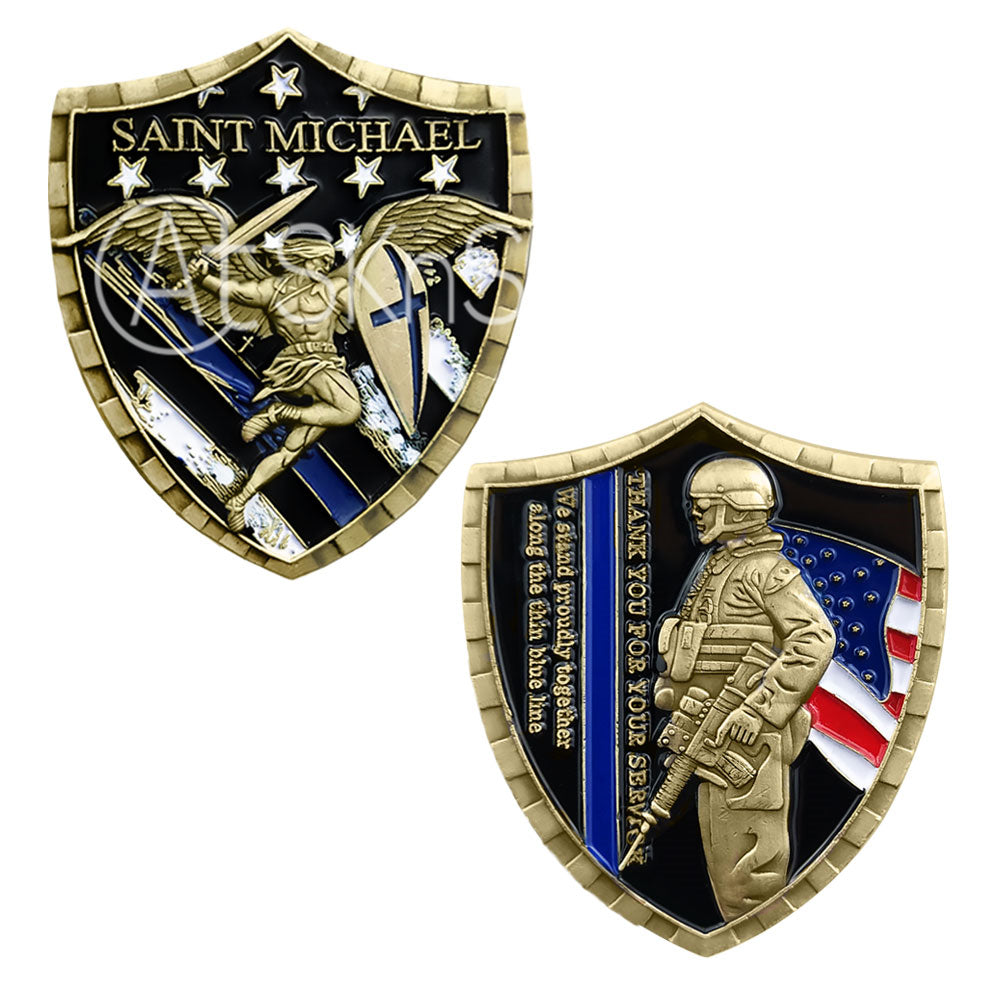 Police A Thin Blue Line Shield Badge Challenge Coin