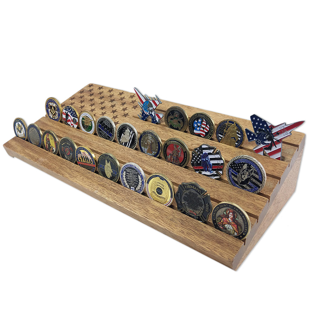 National Flag Walnut Challenge Coin Display