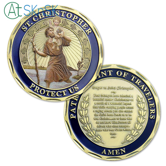 St. Christopher Saint of Travelers' Challenge Coin Antique Bronze Edition