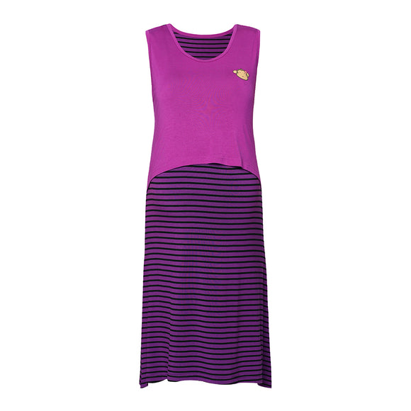 DooDooMooky Maternity & Nursing Sleeveless Dress Violet with Stripe