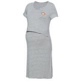 DooDooMooky Maternity & Nursing Dress Small Doo Doo Mooky Face Grey with Stripe Grey & White