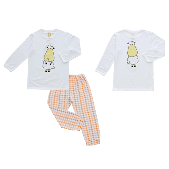 Pyjamas Set White Front Back Sheepz + Orange Checker