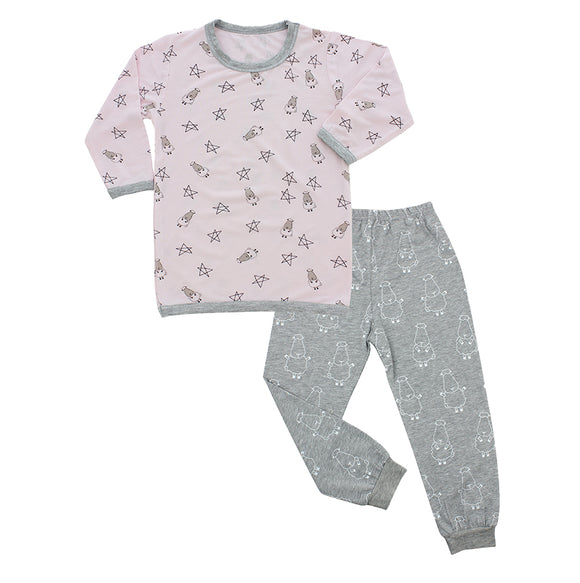 Pyjamas Set Pink Small Sheep & Stars + Grey Big Sheepz